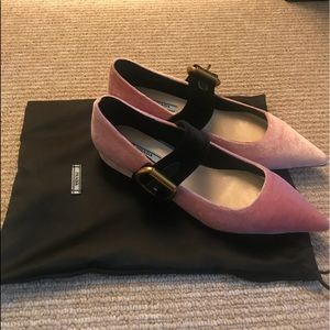 NEWPrada two-tone Pink Velvet point-toe Ballerinas